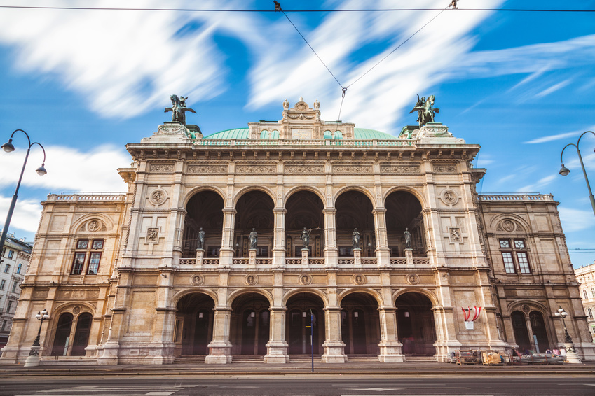Long exposure of State Opera in Vienna Austria