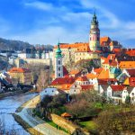 Red tile roofs and towers of the Cesky Krumlov
