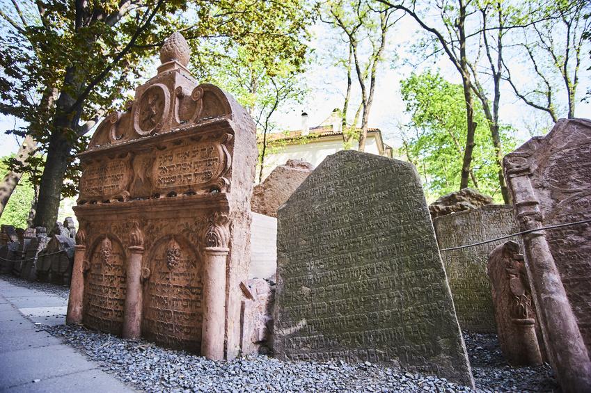 Tombstone of Judah Loew ben Bezalel  on Old Jewish Cemetery in the Jewish Quarter in Prague.
