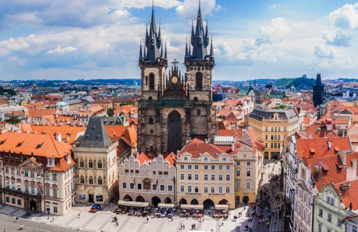 prague tours: tyn church in the old town square